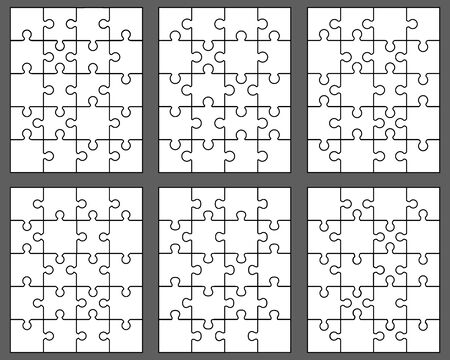 Vector illustration of six different white puzzles, separate pieces Ilustração