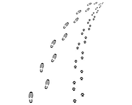 Footprints of man and dog, turn left or right