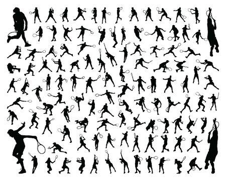 Schwarze Silhouetten von Tennisspielern auf weißem Hintergrund Vektorgrafik