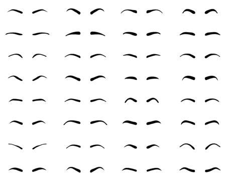 Types and forms of eyebrows, tattoo design Ilustração