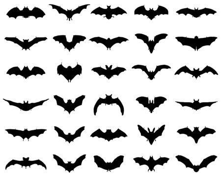 Big set of black silhouettes of bats Ilustração
