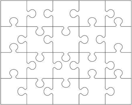Illustrazione vettoriale di puzzle bianco, pezzi separati