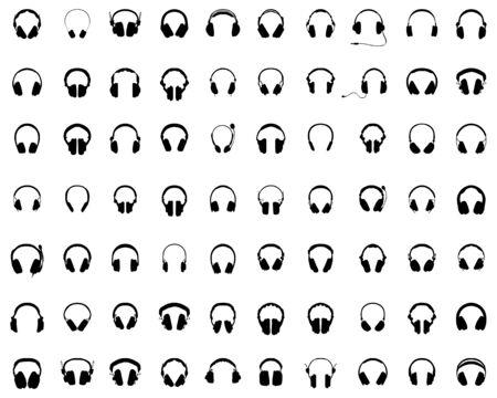Big set of black silhouettes of headphones on a white background Ilustração