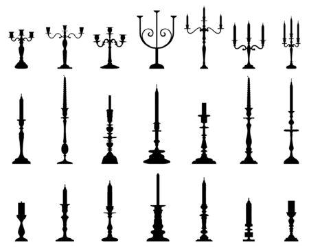 Siluetas negras de candelabros sobre un fondo blanco.