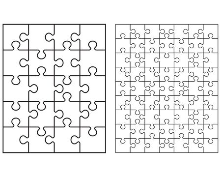 Illustration of two white puzzles, separate pieces