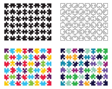 Illustration of white, black and colorful puzzles, separate pieces