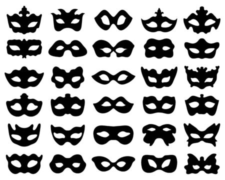 Black silhouette of festive masks in black on a white background