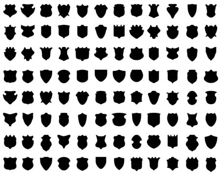 Black silhouettes of shields on white a background, vector