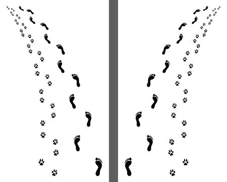 Footprints of man and dog on a white background, turn left or right, vector Vettoriali