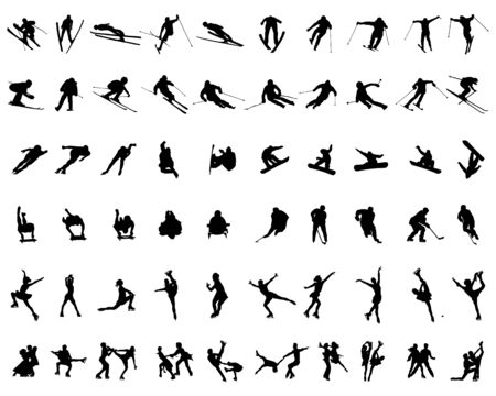 Set of winter sport silhouettes on a white background, vector Vettoriali