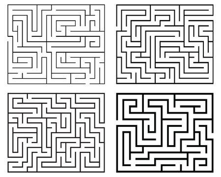 Four black mazes on a white background Archivio Fotografico - 142219818