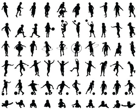 Black silhouettes of children playing, illustration on a white background