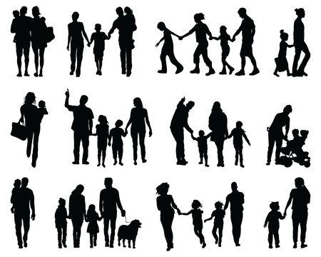 Schwarze Silhouetten von Familien beim Gehen auf weißem Hintergrund Vektorgrafik