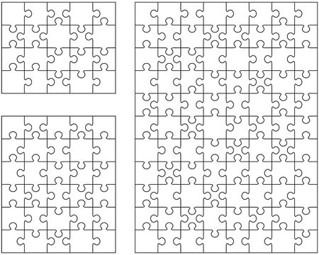 Illustration of three different white puzzles, separate pieces Vettoriali