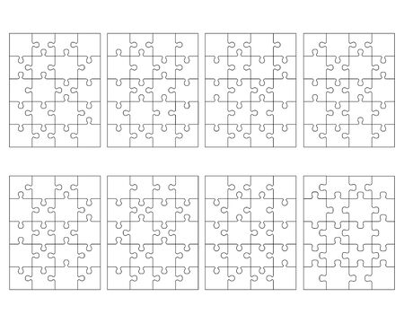 Illustration of eight white different puzzles, separate pieces Archivio Fotografico - 144500480