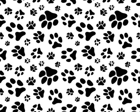 Seamless pattern of black silhouettes of prints of dog paw Vettoriali