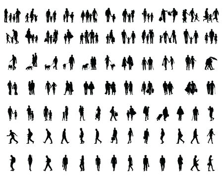 Black silhouettes of people walking, illustration on a white background Vettoriali