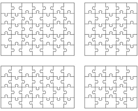 llustration of four white puzzles, separate pieces Vettoriali