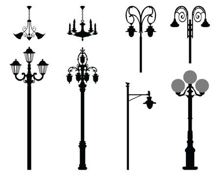 Black silhouettes of city street lanterns on a white background