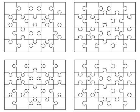 Illustration of four different white puzzles, separate pieces Vettoriali