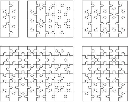 Illustration of five different white puzzles, separate pieces Archivio Fotografico - 152560073
