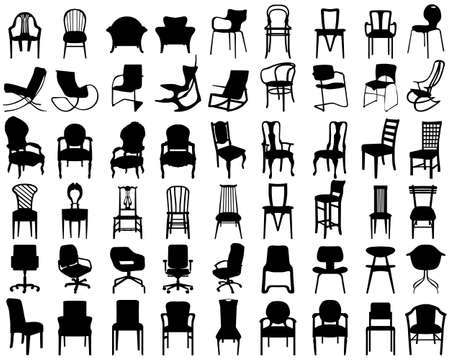 Black silhouettes of different chairs on a white background Vettoriali