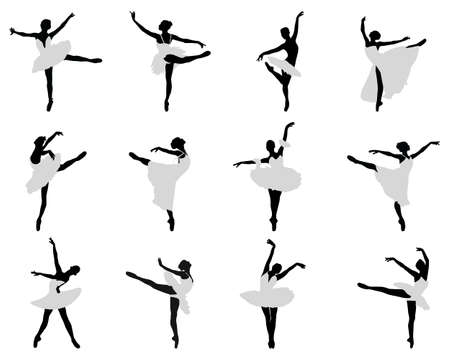 Silhouettes of ballerinas on a white background Vettoriali
