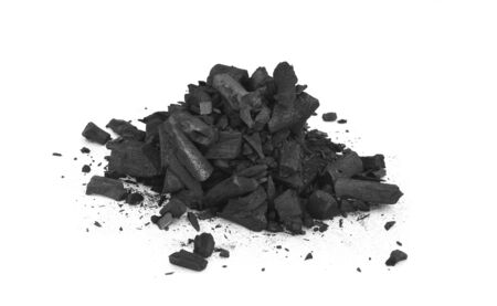 charcoal powder on white background