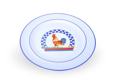 Chicken Seal plate on white background.