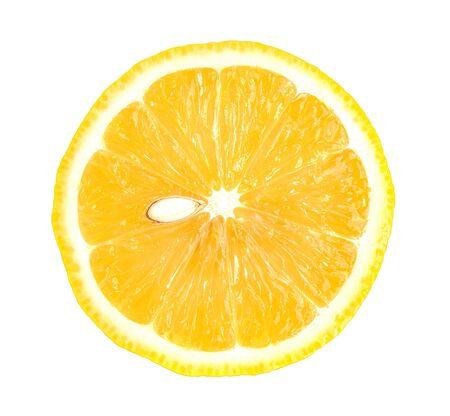 Orangenscheibe auf weißem Hintergrund.
