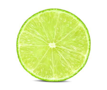Juicy slice of lime isolated on white, with clipping path Stockfoto