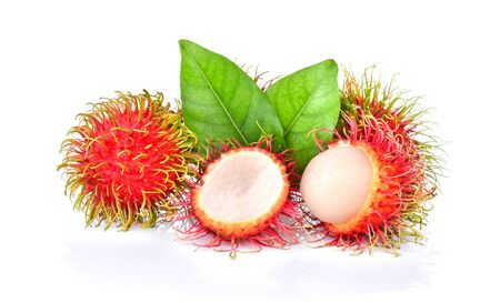 rambutan sweet delicious fruit with leaf isolated on white background.