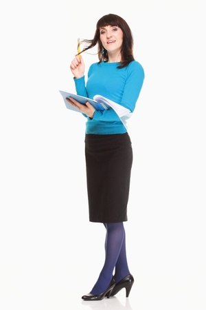 Business woman with documents and pen ob white background Stock Photo - 16057068