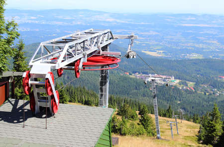 Closed ski lift in the summer in the Polish mountains photo