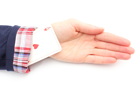 trickery: Business woman has an ace up his sleeve  Isolated on white background