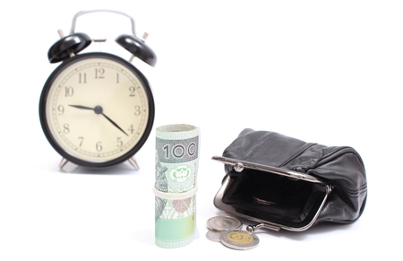 Roll of tied polish banknotes with coins and retro styled alarm clock , time is money concept photo