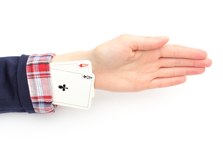 Business woman has an aces up his sleeve  Isolated on white background photo