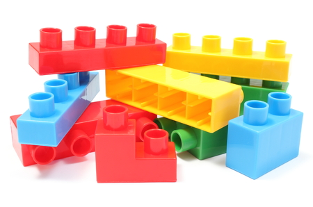 building blocks: Heap of colorful building blocks, building blocks for children  Isolated on white background Stock Photo