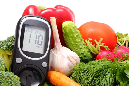 Glucose meter and fresh ripe raw vegetables, desk of healthy organic vegetables, concept for healthy eating and diabetes  Isolated on white background photo