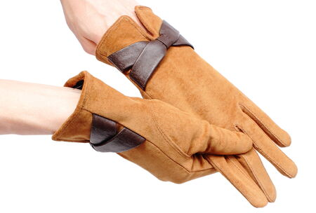 ladylike: Closeup of suede gloves for woman