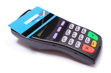 contactless: Payment terminal with contactless credit card on white background, credit card reader, payment terminal, finance concept