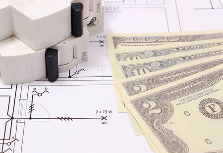 energy work: Electric fuse and money on electrical construction drawing of house, accessories for engineering work, concept for energy saving