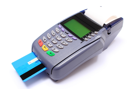 Payment terminal with credit card on white background, credit card reader, payment terminal, finance concept