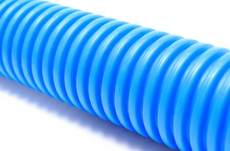 plastic conduit: Corrugated plastic pipe for electrical cable Stock Photo
