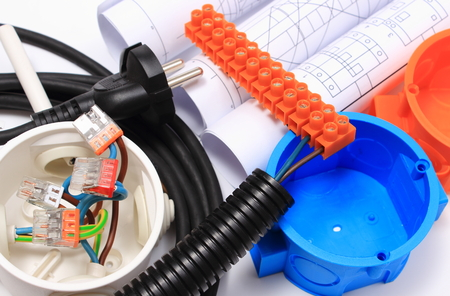 Components for use in electrical installations and rolls of electrical diagrams, copper wire connections in electrical box, energy concept photo