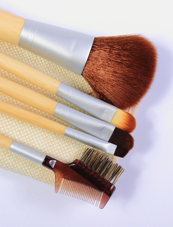 womanly: Set of professional brushes for makeup for woman, womanly cosmetics accessories Stock Photo