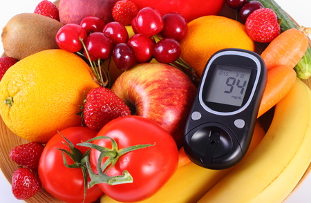 immunity: Glucose meter with fresh ripe fruits and vegetables, concept of diabetes, healthy food, nutrition and strengthening immunity. Isolated on white background