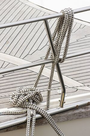 yachting: Yachting. Nautical thick rope on sailboat