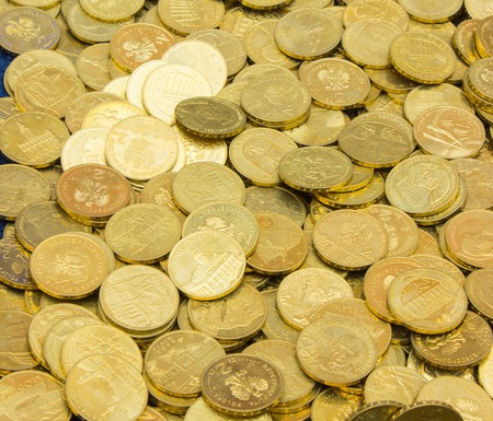 numismatic: Heap of old dirty collection of coins around the world for sale at the bazaar