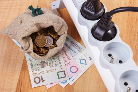 power of money: Electrical power strip with connected plug and polish currency money on wooden floor, power board, concept of saving money on electricity, energy costs